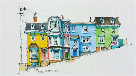 watercolor tutorial architecture line and wash watercolor tutorial of colorful row houses