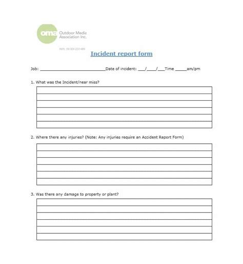 incident alert template 60 incident report template employee generic ᐅ