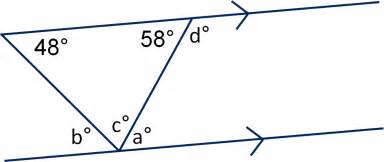 geometry angles in triangles and on parallel lines