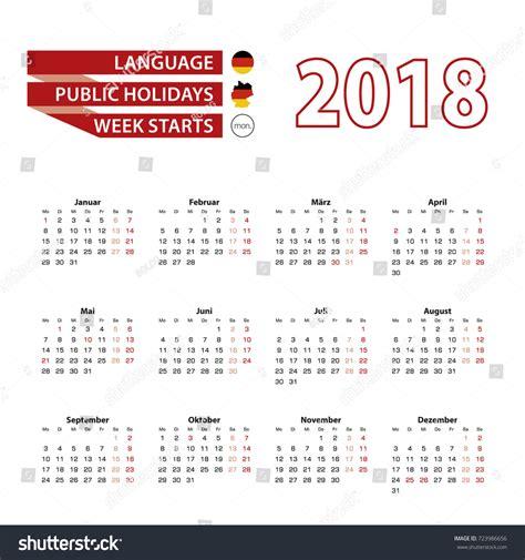 Germany Calendrier 2018 Calendar 2018 Germany Language Holidays Stock