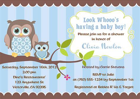 Baby Owl Baby Shower by Owl Baby Shower Invitation Boy