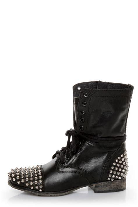 steve madden tarnney grey leather studded lace up combat