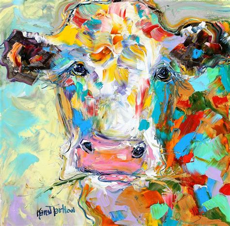 colorful cow painting colorful cow portrait painting by tarlton