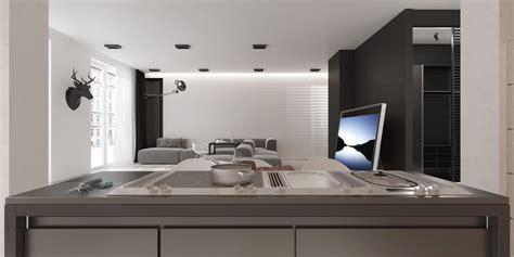 Ultra Modern Kitchen an open floorplan highlights a minimalist design