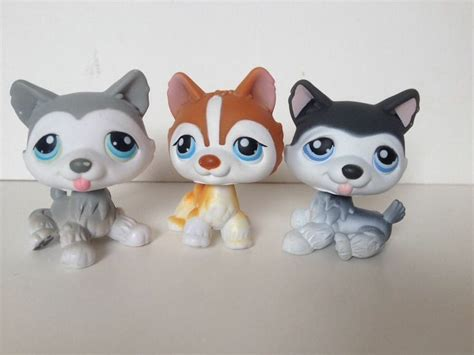 lps husky puppy littlest pet shop husky lot euc white grey polar 341 70 21