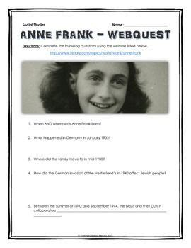 anne frank biography and questions anne frank webquest with key holocaust a well anne