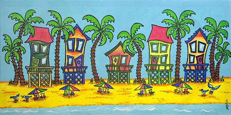 beach house paintings 5 beach houses painting by joyce m jacobs