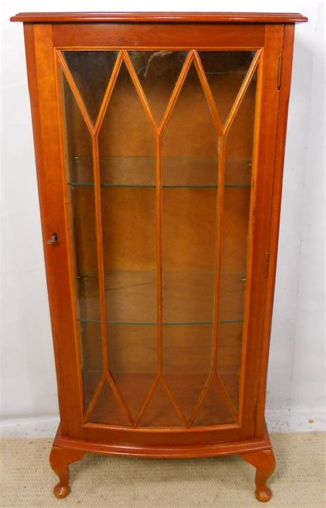 sold yew small single door china display cabinet