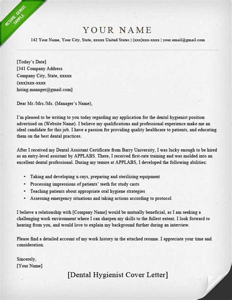 Dental Hygienist Cover Letter by Dental Assistant And Hygienist Cover Letter Exles Rg
