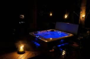 Split Level Home Designs relaxing nighttime hot tub scene in alexandria va