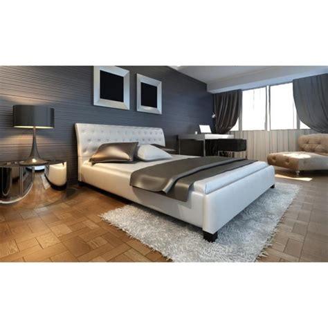 lit en cuir 140 215 200 cm blanc moderne lit achat