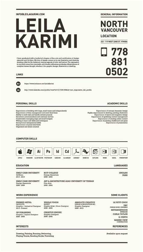 really resumes really creative simple resume by leila karimi via behance for more great resume ideas search