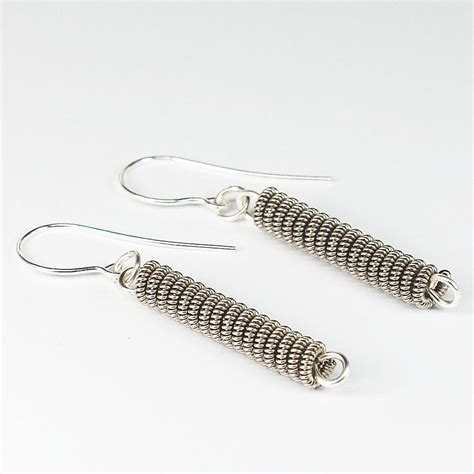 String Earrings - guitar string jewelry silver coil earrings by tanith rohe