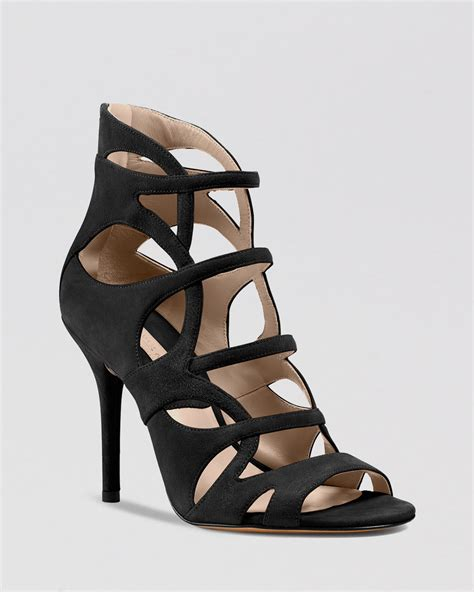 strappy black high heel sandals michael kors caged sandals casey strappy high heel in