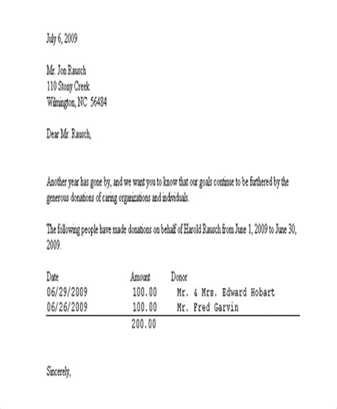 donation acknowledgement letter templates word