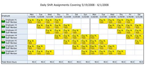 shift pattern generator online employee scheduling exle 10 hours a day 7 days a week