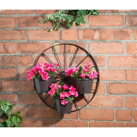 b m gt wagon wheel 3 pot wall planter 287245