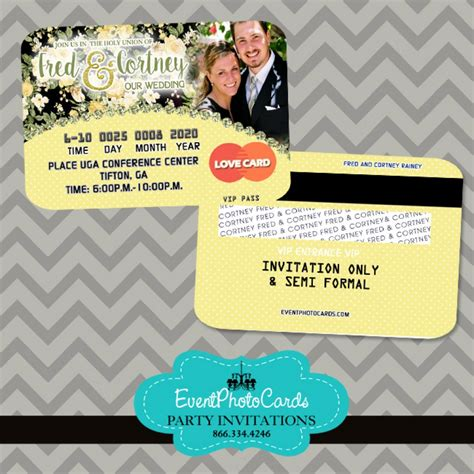 yellow and black wedding floral invitations credit card style announcements designs