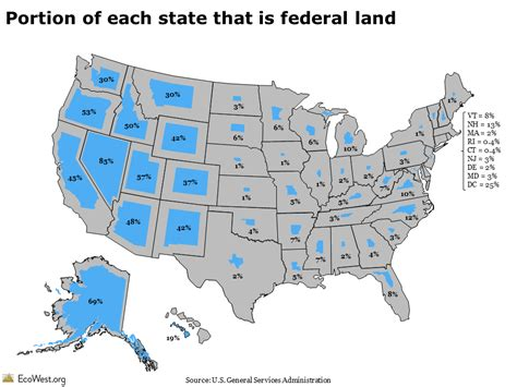 map of federally owned land in usa who owns the west federal land by state ecowest org