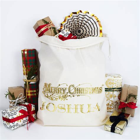 personalised merry christmas traditional sack by weasel
