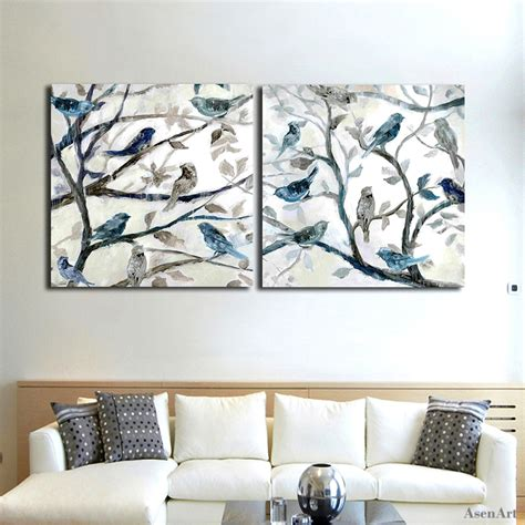 bird oil painting canvas wall art home decor living room hand painted abstract oil painting on canvas 2 piece