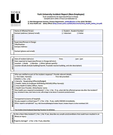 sample incident report templates sample templates