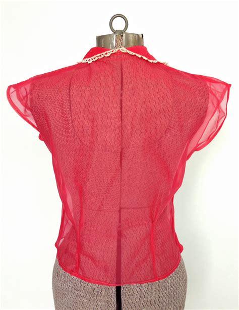 Blouse Chery White vintage 1950s sheer blouse cherry pink lace vintage logic