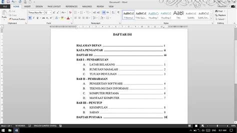 membuat daftar isi untuk makalah tutorial microsoft word 2013 membuat daftar isi untuk