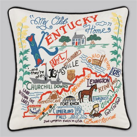 Catstudio Pillow Sale by Cat Studio Embroidered State Pillow Kentucky