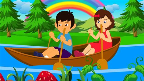 row boat gently down stream row row row your boat english nursery rhyme with lyrics