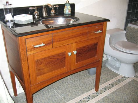 crafted custom teak furniture style bathroom vanity