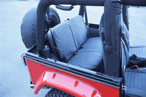 2004 jeep wrangler tj seat covers all things jeep rage black denim rear seat covers for