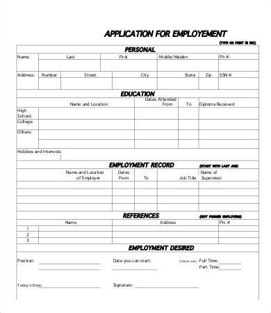 printable free job applications templates printable job application template cambogiapureselects net