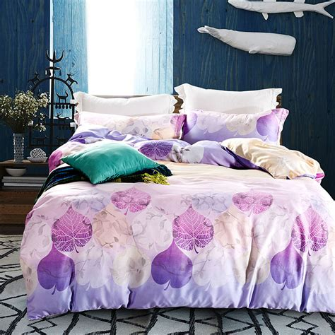 fluffy king size comforter purple leaves print bedding sets double queen king size