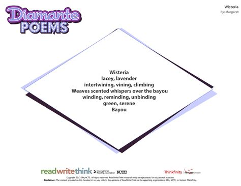 diamante poem template tool enables students to learn about and write