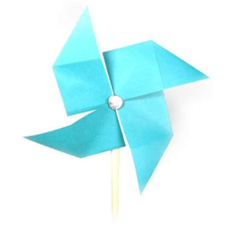 Origami Pinwheel - how to make a traditional origami pinwheel page 1