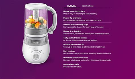Philips Avent 2 In 1 Blender Steamer buy philips avent 4 in 1 healthy baby food maker bundle