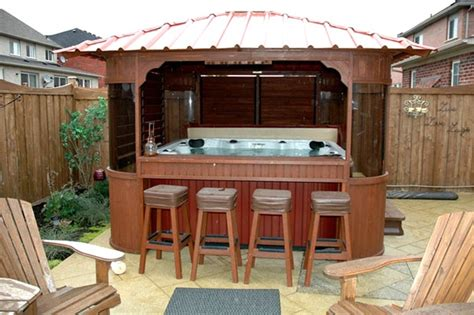 Outdoor Spas And Tubs Tub Gazebo With Built In Outdoor Bar Home Design
