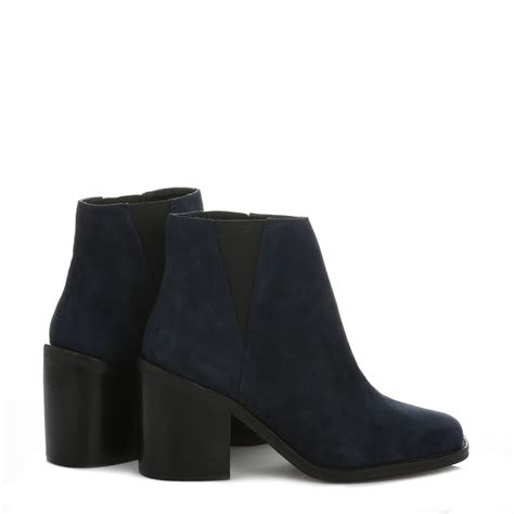 Casual Suede Navy shellys womens ankle boots casual shoes navy blue