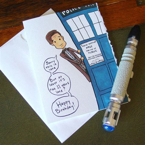 Dr Who Birthday Card Doctor Who Belated Birthday Card Eleventh Doctor Late