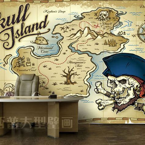 pirate wall murals free shipping type mural wallpaper mural pirate map personalized children s room custom size in