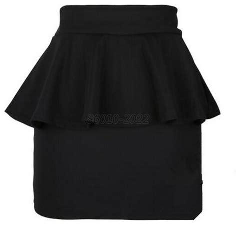 high waisted peplum frill pencil skirt stretch