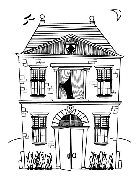Free Coloring Pages Haunted House Color Page