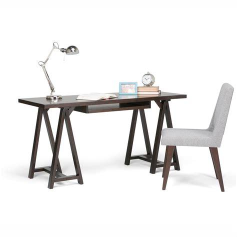 simpli home sawhorse computer desk amazon com simpli home sawhorse solid wood office desk