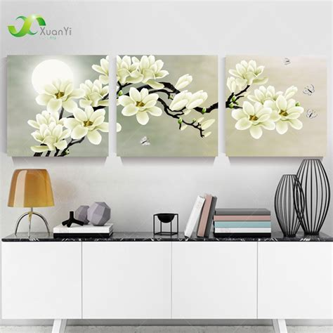 3 panel modern abstract flower painting on canvas wall
