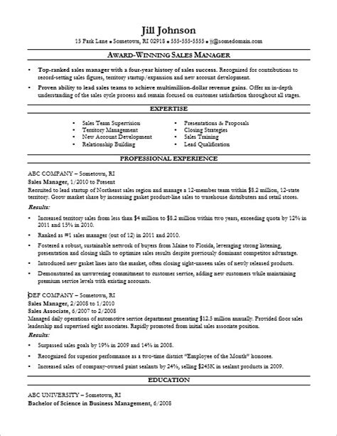 Sales Manager Resume Sle Monster Com Sales Resume Template 2