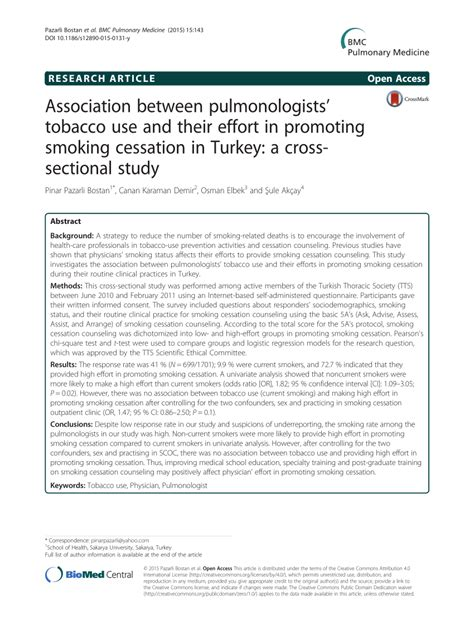 cross sectional study pdf association between pulmonologists tobacco use and their