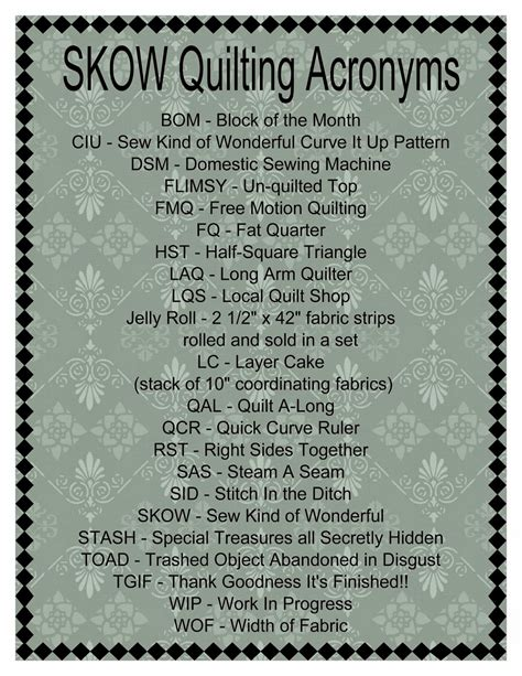 sew kind  wonderful tuesday tips quilting acronyms