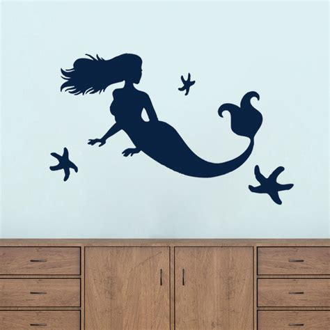 Mermaid and starfish flowers amp shapes bathroom beach nursery kids wall decals ebay