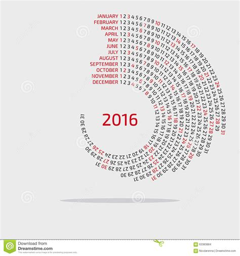 circular calendar template 2016 calendar template stock vector image 63383884